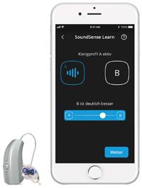 Das Hörgerät Evoke von Widex mit dazugehöriger App
